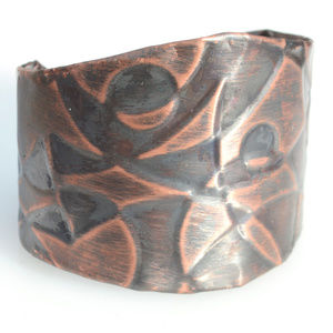 Abstract Wide Copper Cuff Bracelet Embossed Boho